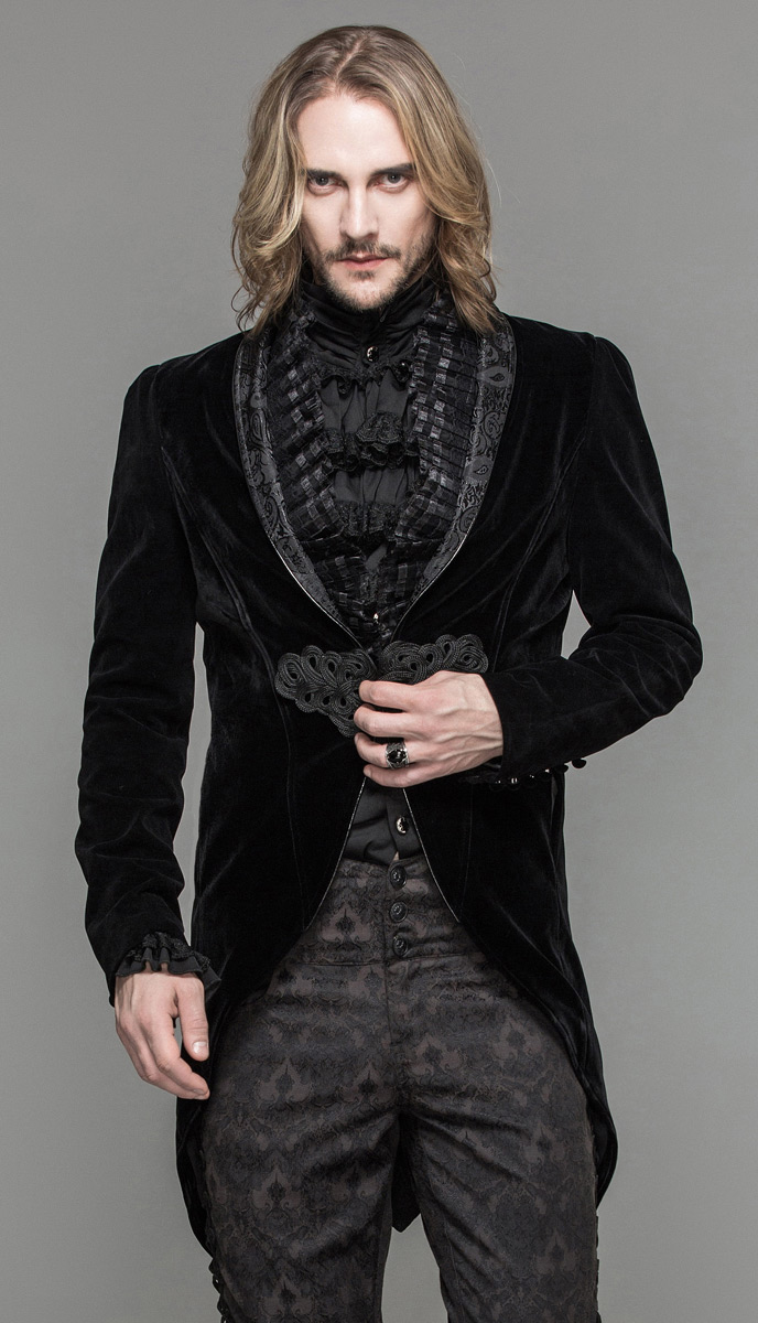 veste homme en velours noir attache brod e et col d cor. Black Bedroom Furniture Sets. Home Design Ideas
