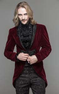 Veste homme en velours rouge, attache brodée et col décoré, élégant  aristocrate gothique 2025c940e999