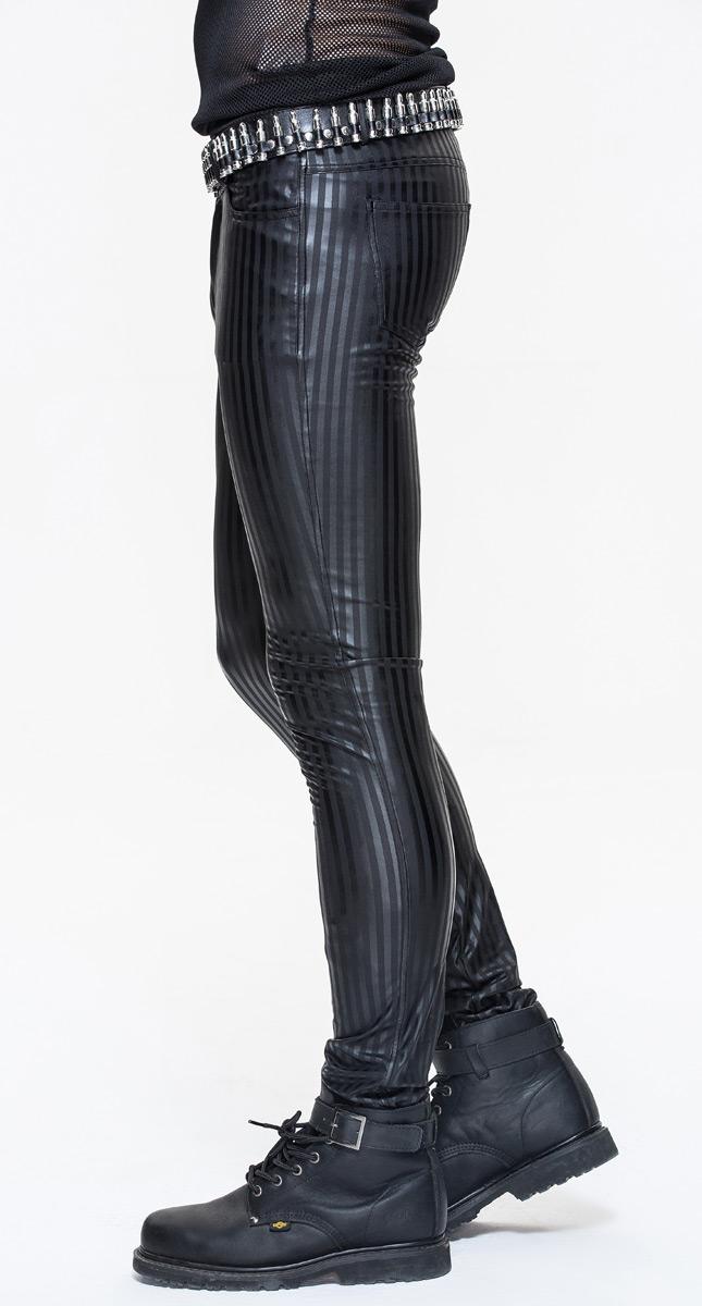 Fashio Rayures Moulant Pantalon Homme Gothique À Vinyl Type Noir Devil P Latex PW4Swa4q0U
