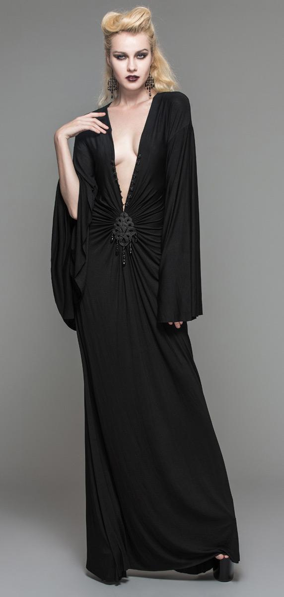 fceb1b729e4 Longue-robe-noire-avec-long-decollete-reglable-sexy-