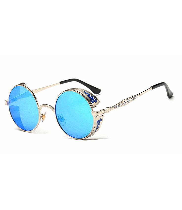9b5663756cc59 Lunettes rondes argentées et décorées à verres bleu
