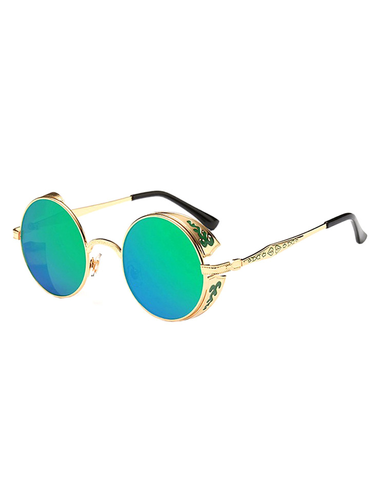 81832761cbbd3 Lunettes rondes dorées et décorées à verres verts bleus