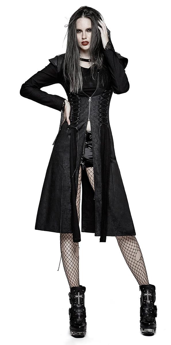 Femme Fermeture Éclair Veste Noire Dos Pics Et Nu Longue Laçages vqPOSwq
