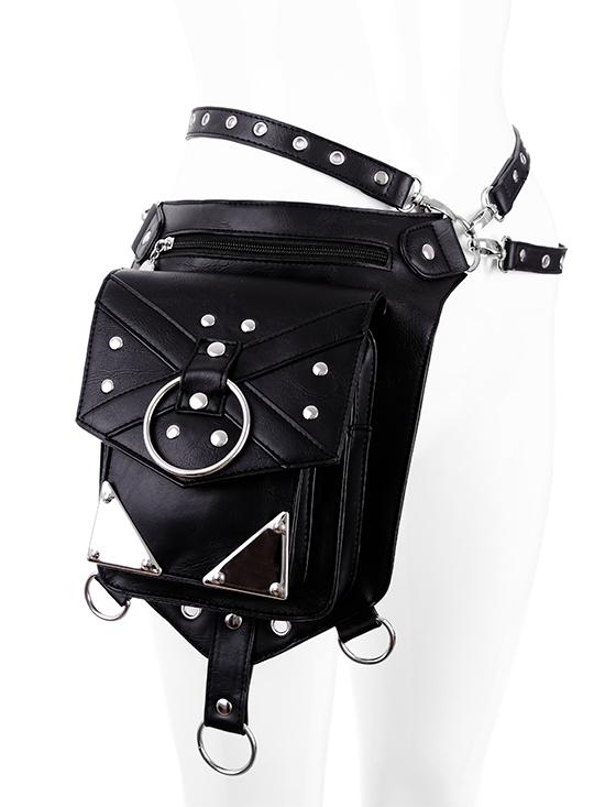 Harnais ceinture avec sacoche noir imitation cuir et métal argenté gothique  rock Restyle b54c7d31d0b
