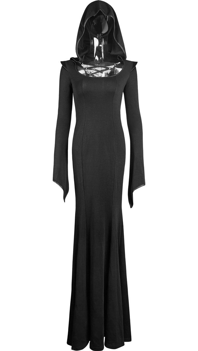 e32ddb1530d Robe longue noire moulante avec capuche et laçages dans le dos