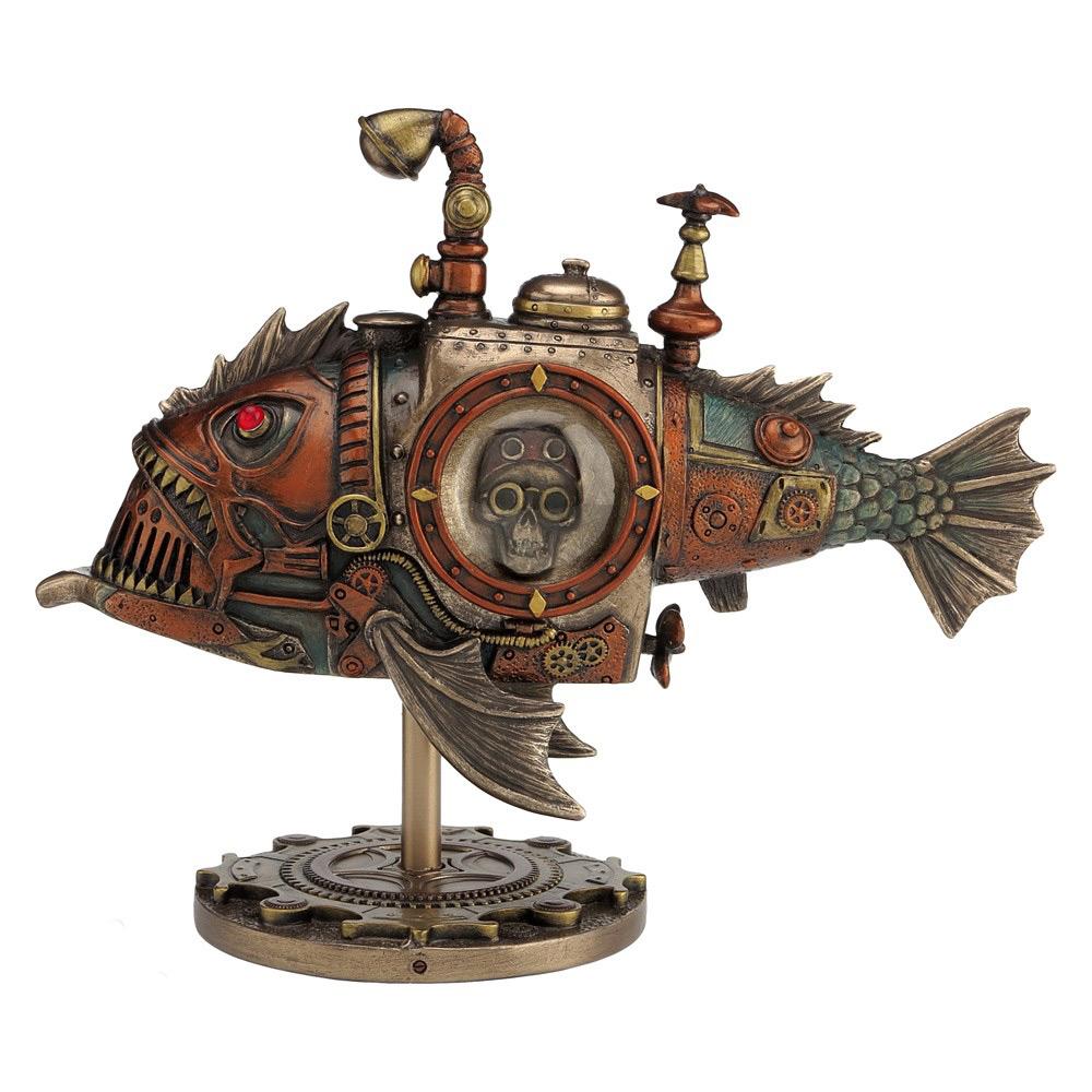 sous marin steampunk piranha poisson fantastique 22cm d coration bureau figurine et socle. Black Bedroom Furniture Sets. Home Design Ideas