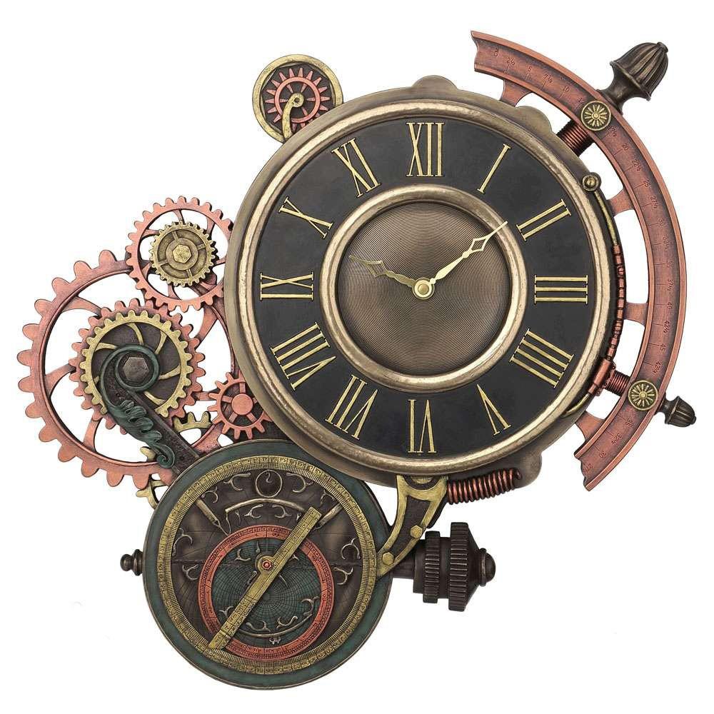 Horloge avec m canisme rouages engrenages d coration murale retro steampunk jules vernes for Grosse horloge design