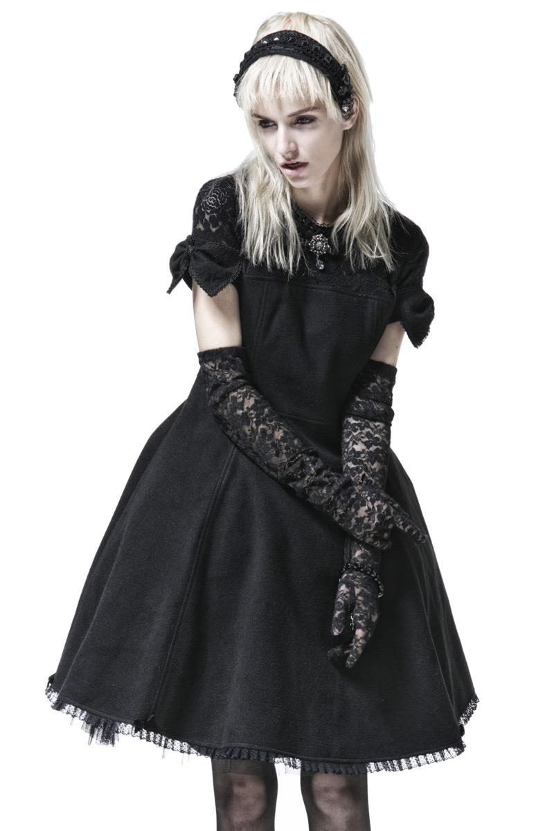 Robe Noire Avec Noeuds Et Haut En Dentelle Elegant Gothique Lolita Punk Rave Japan Attitude Punkr0278