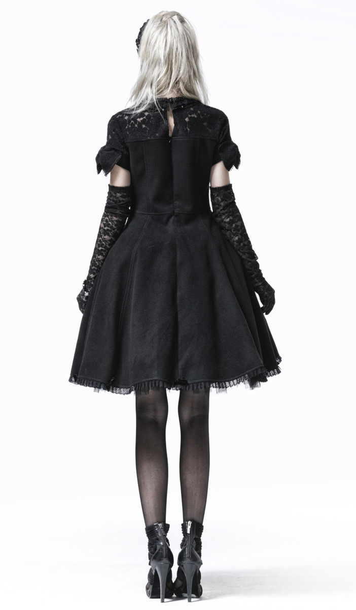 Robe negroe avec avec avec noeuds et haut en dentelle, élégant gothique lolita Pyon Pyon e927ae