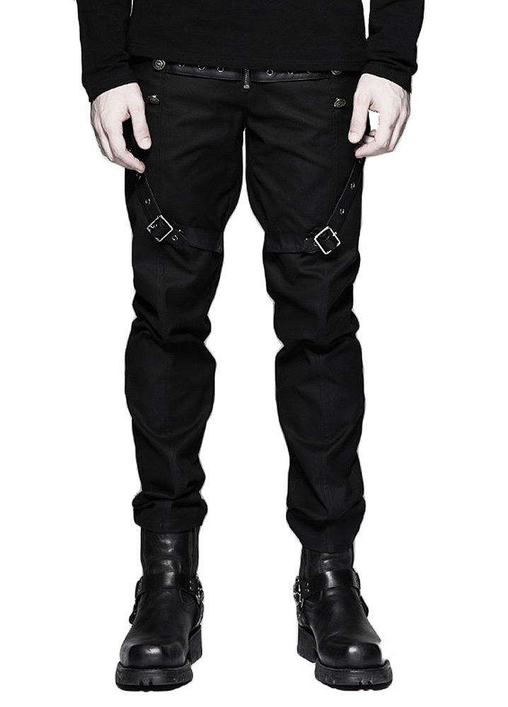 pantalon noir pour homme avec sangles en faux cuir et boutons punk rave japan attitude. Black Bedroom Furniture Sets. Home Design Ideas