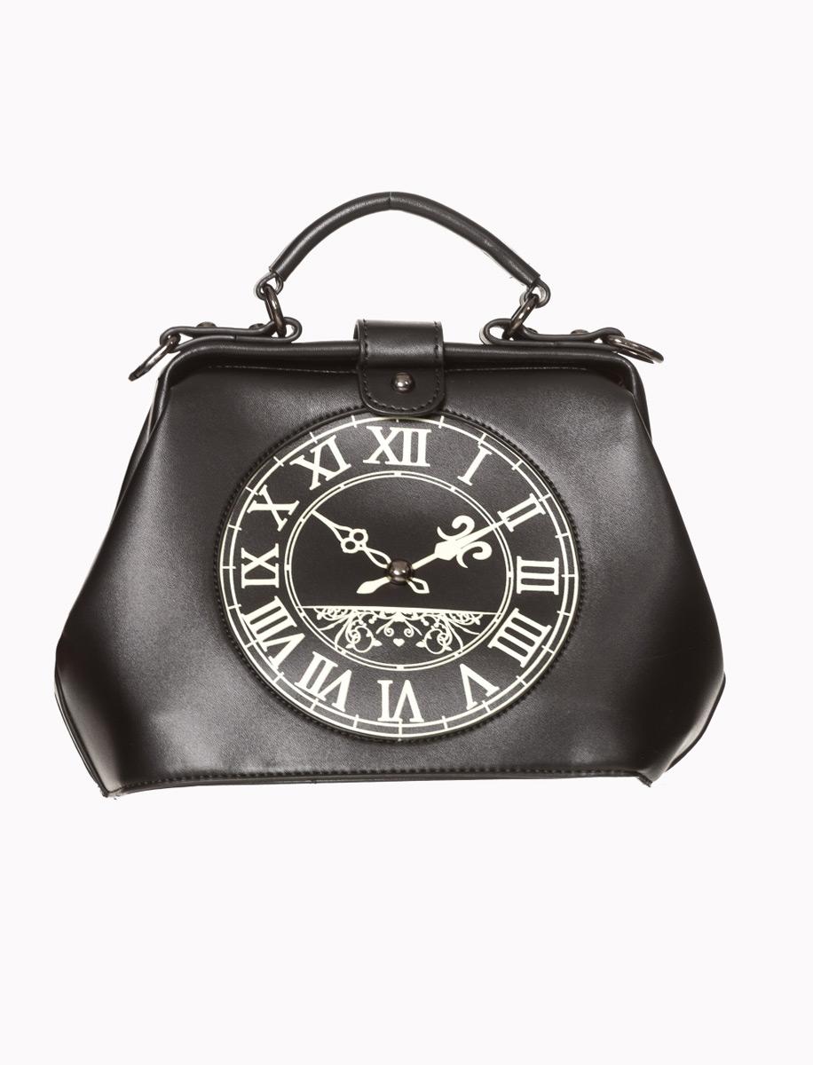 nouvelle arrivee 9b2d2 3d44b Sac main noir avec motif d'horloge retro steampunk pin-up, banned Référence  : BANNED158
