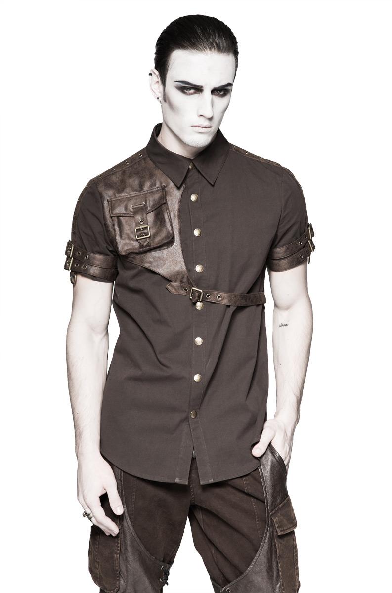 Chemise marron avec sangles et pochette imitation cuir, steampunk p Punk Rave