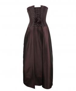 striped brown satin corset steampunk dress white straps