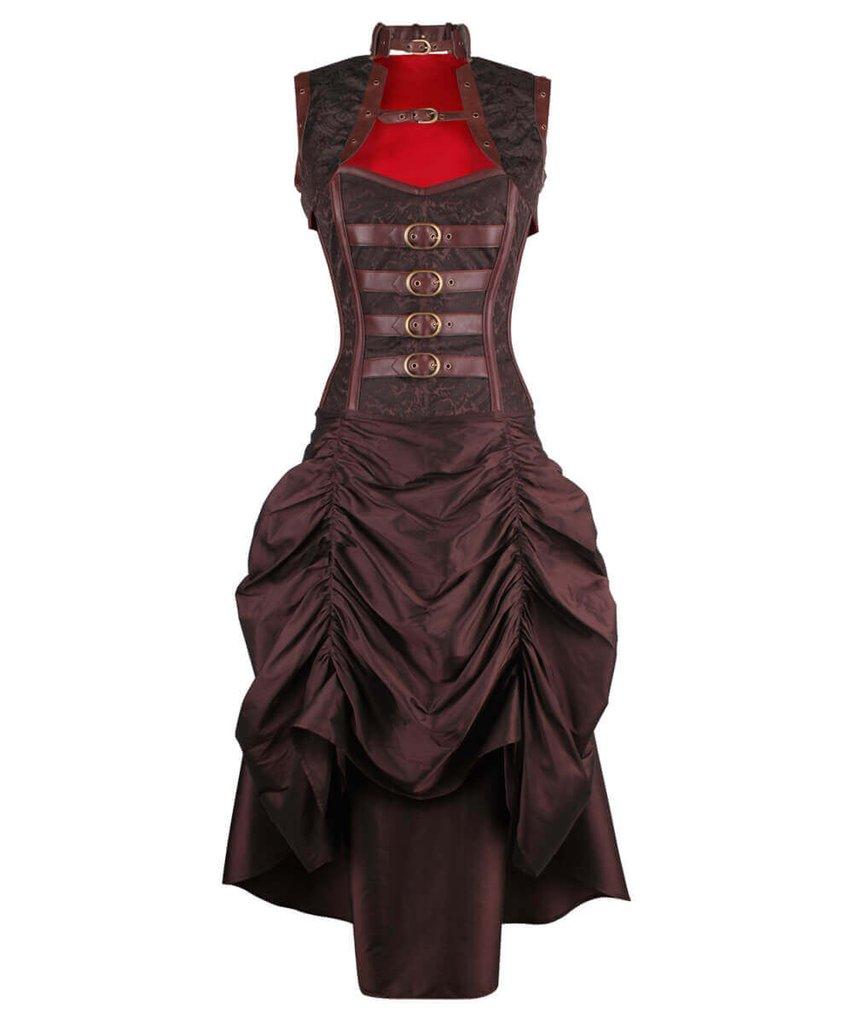 Vintage pattern brown corset steampunk dress white straps ...