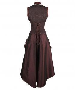 vintage pattern brown corset steampunk dress white straps