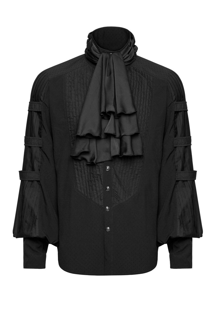 Chemise noire homme avec manches bouffantes et lavallière, gothique Punk Rave