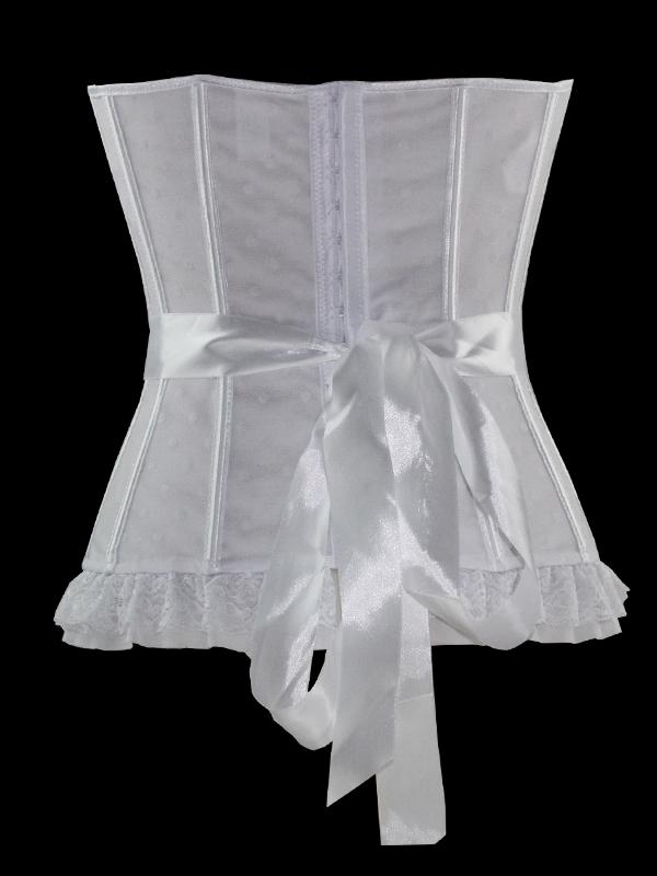 3dca4e2e915d Corset bustier blanc avec noeuds et dentelle, ceinture ruban, mariage
