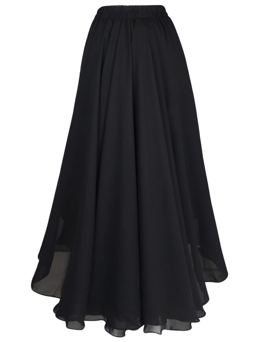 b74b5eac13087 Longue jupe noire légère en mousseline, vintage retro nugoth witch  Référence : VETJUP246