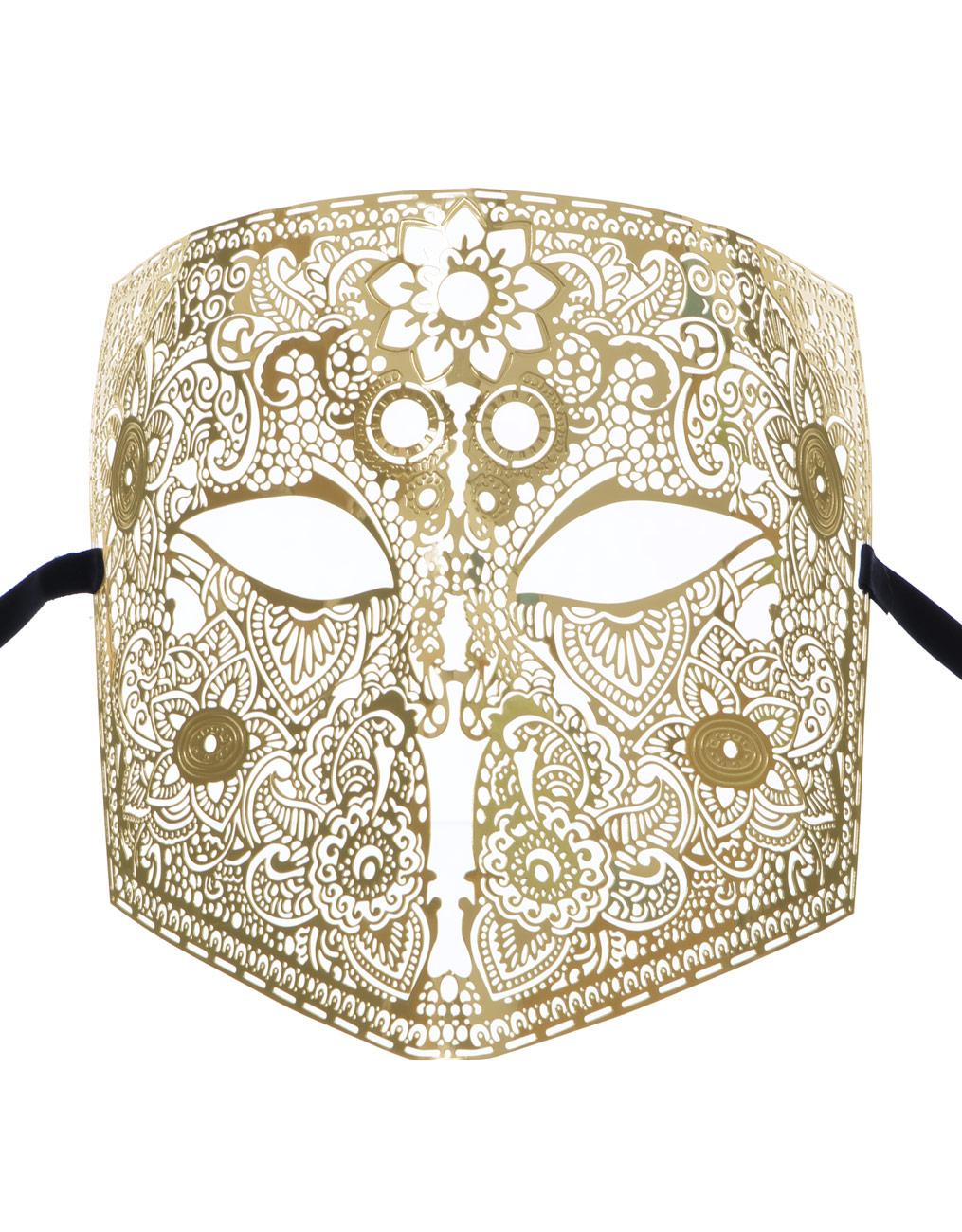masque homme v nitien larva la bauta en m tal dor fin motif vintage bal masqu l gant. Black Bedroom Furniture Sets. Home Design Ideas
