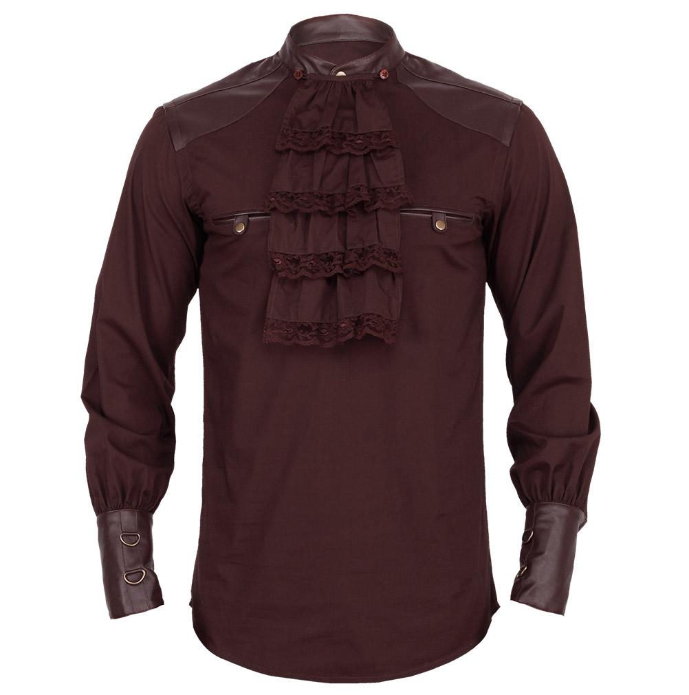 Hemd braun herren mit kunstleder und jabot abnehmbar gotik steampunk