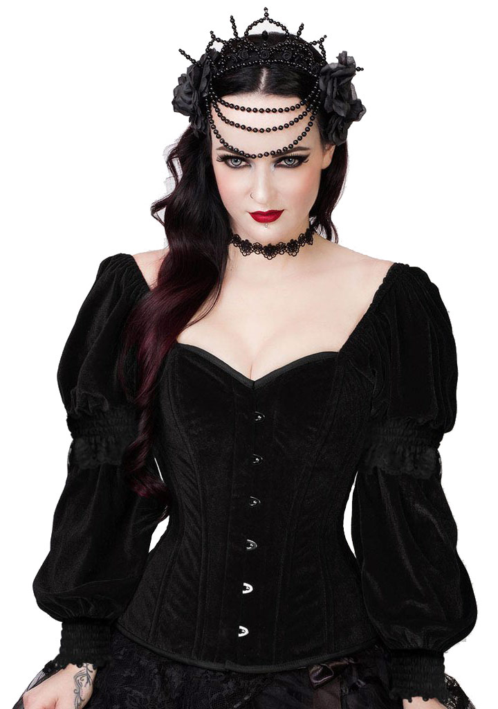 Corset top with long sleeves velvet black, gothic romantic victorian
