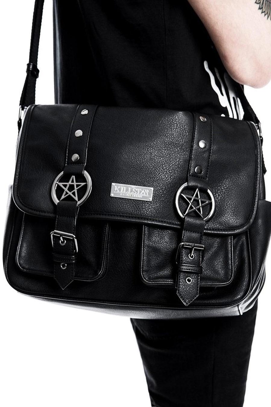sac bandouli re noir avec pentagrammes ritual ring messenger killstar nugoth gothic japan. Black Bedroom Furniture Sets. Home Design Ideas