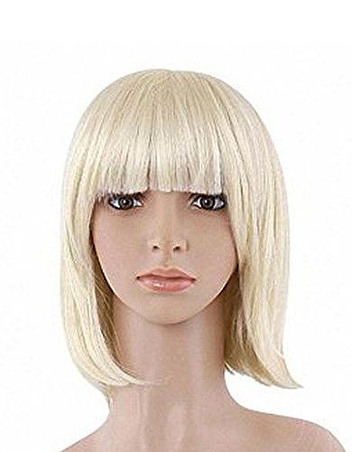 Perruque blonde platine mi longue carré lisse