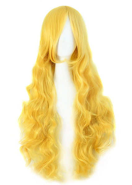 Perruque longue blonde jaune ondulée 80 cm,