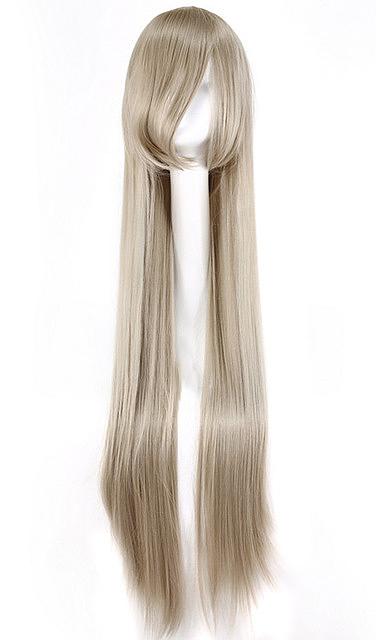 perruque longue blond cendr gris lisse 100cm cosplay japan attitude accwig790. Black Bedroom Furniture Sets. Home Design Ideas