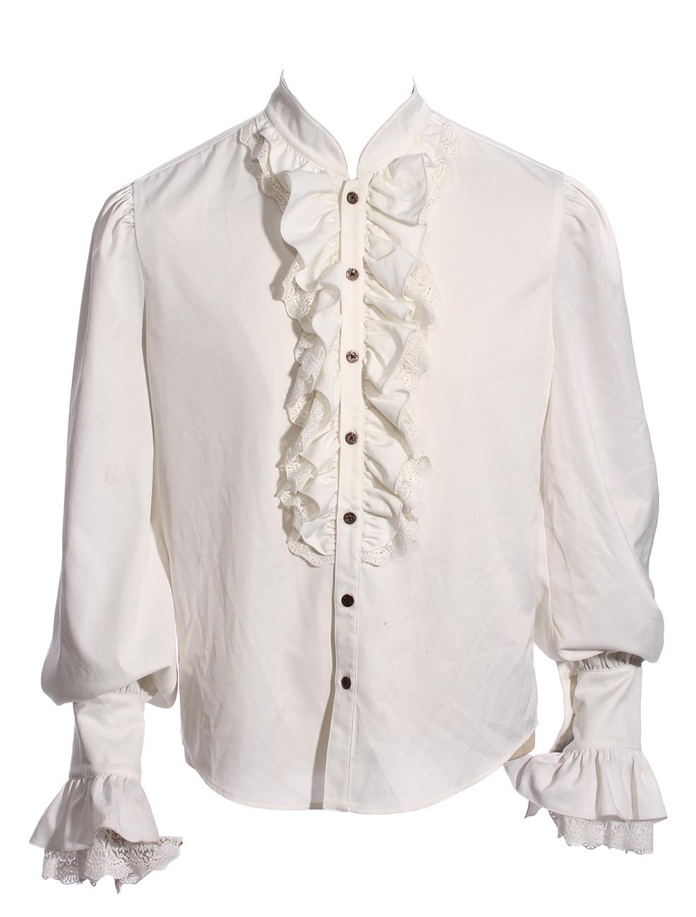 7f6a793a9a215a Chemise blanche homme avec froufrous effet jabot, boutons rouages ...