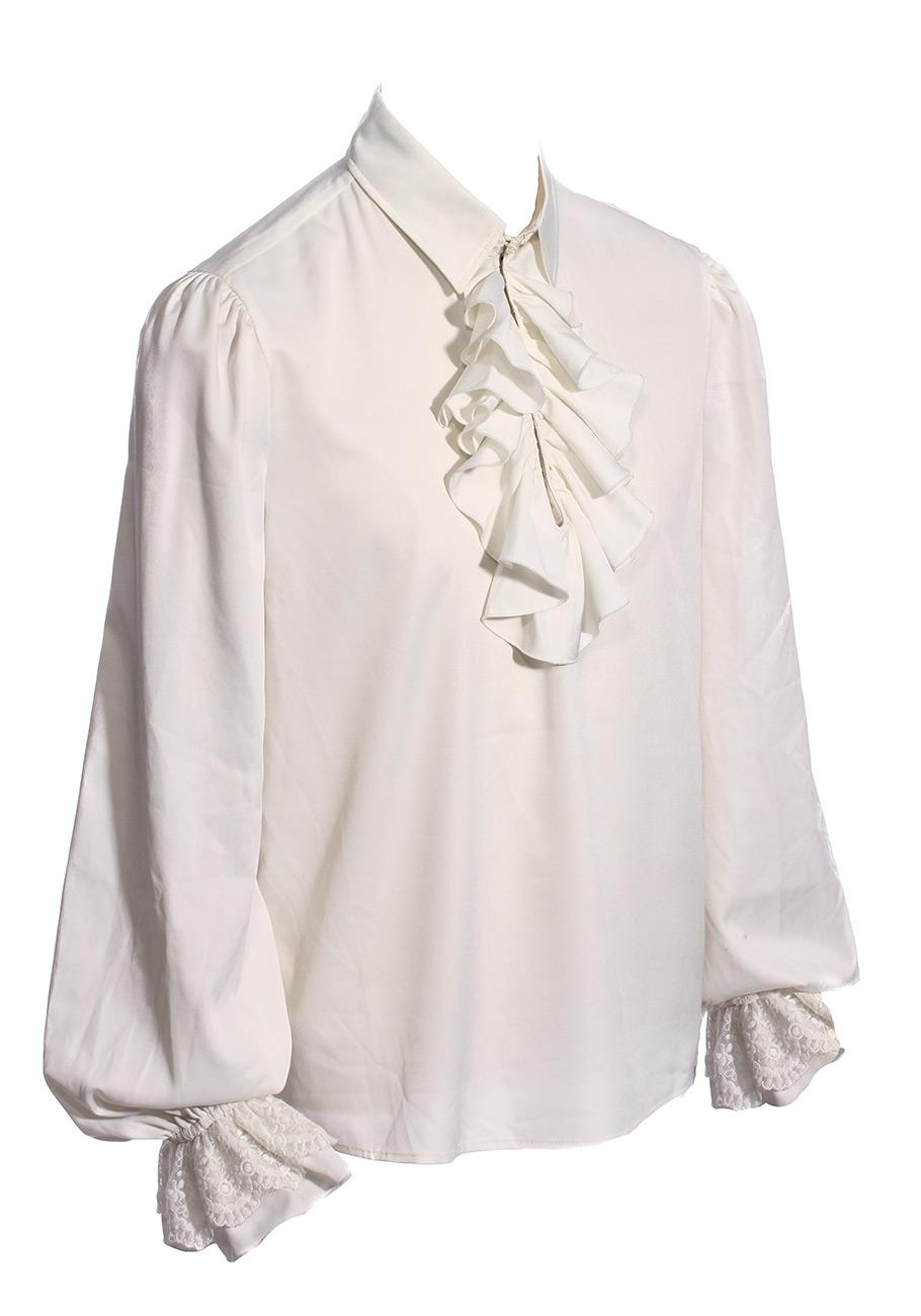chemise blanche homme avec jabot et manches bouffantes