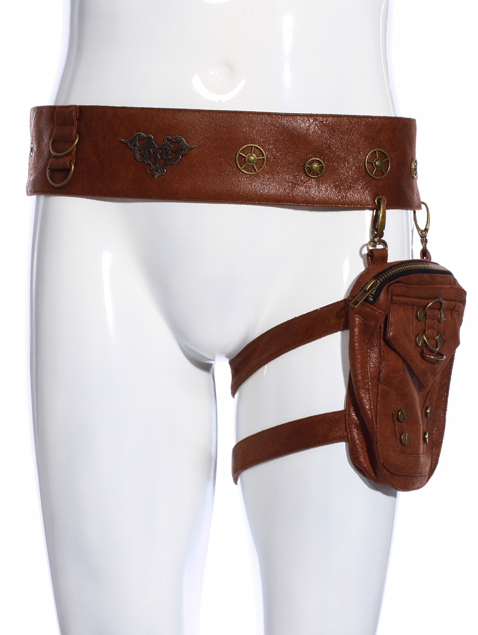 Ceinture harnais de jambe homme imitation cuir marron avec poche, steampunk  RQBL 2662b61e67a