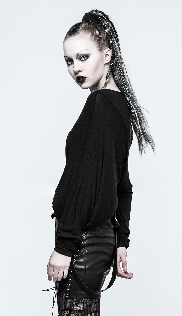 Top pull long large noir asymétrique, gothique casual Punk Rave ...