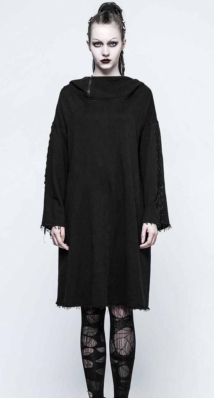 robe pull noir avec grande capuche et manche lac e gothique punk rave japan attitude punkr0316. Black Bedroom Furniture Sets. Home Design Ideas