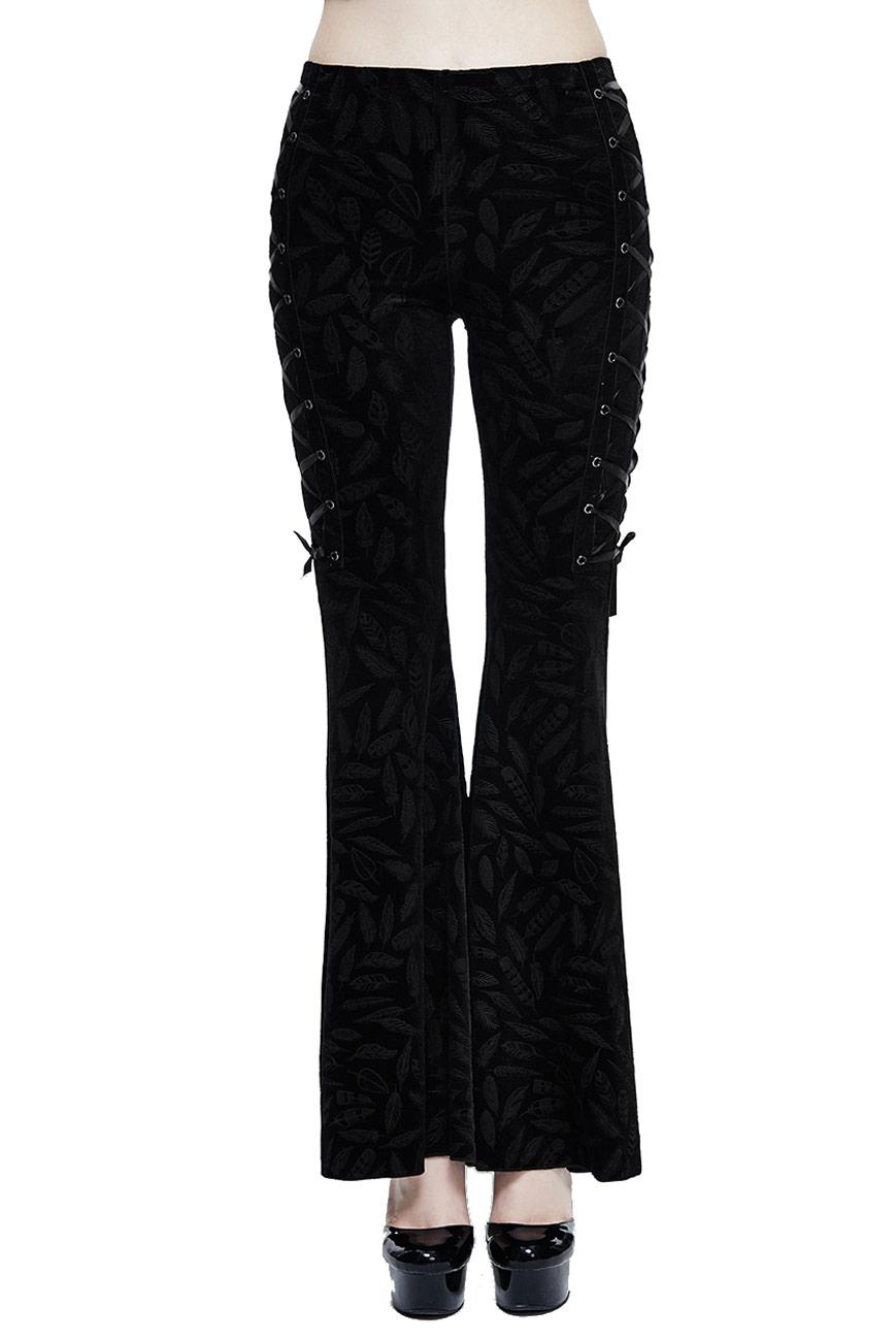 pantalon noir patte d 39 l phant avec motifs de plumes et la ages gothique boh me witchy japan. Black Bedroom Furniture Sets. Home Design Ideas