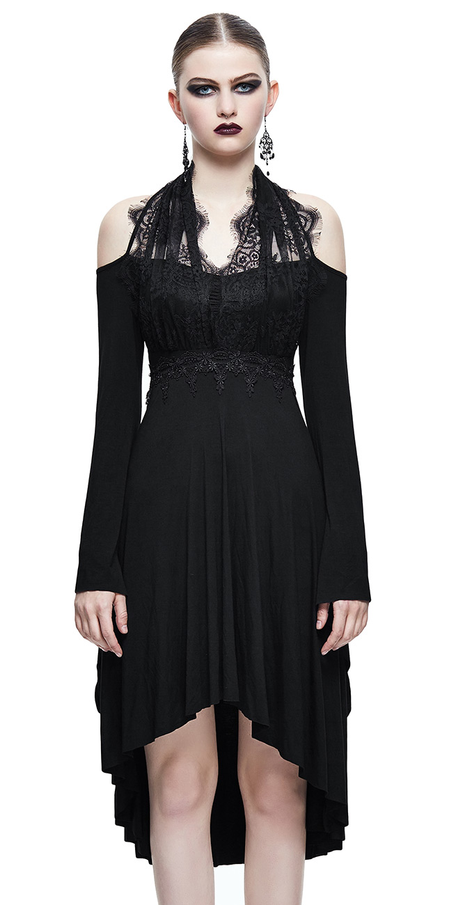 schwarzer Kleid mit Langarm,rückenfrei,Büste Spitze,gothi Teufel ...