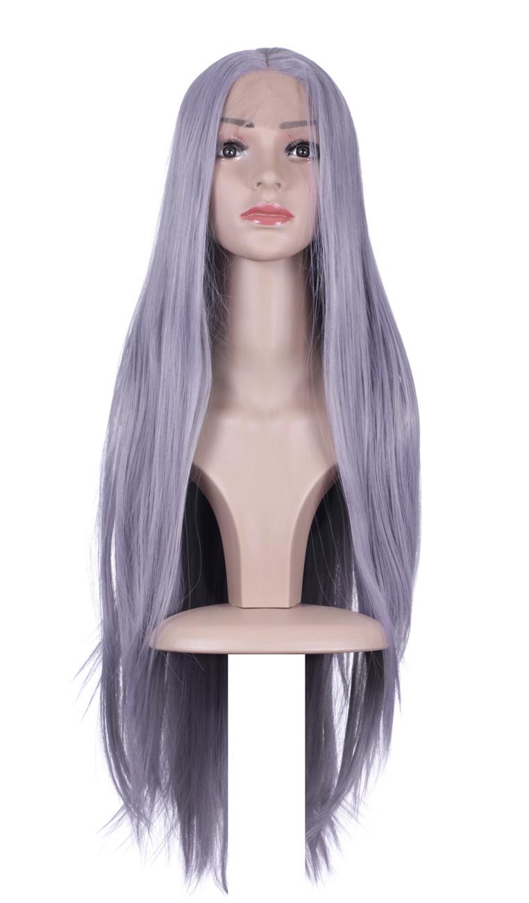 Perruque Front Lace longue violet pâle lisse