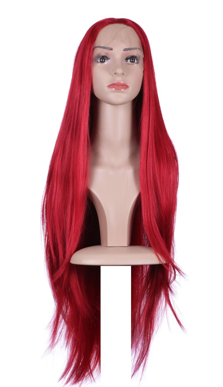 Perruque Front Lace longue lisse rousse rouge,