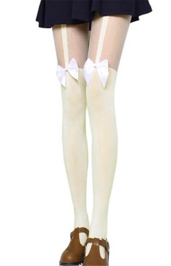 Collant effet porte jarretelles blanc jaune pastel noeud kawaii sweet lolita ebay - Collant effet porte jarretelle ...