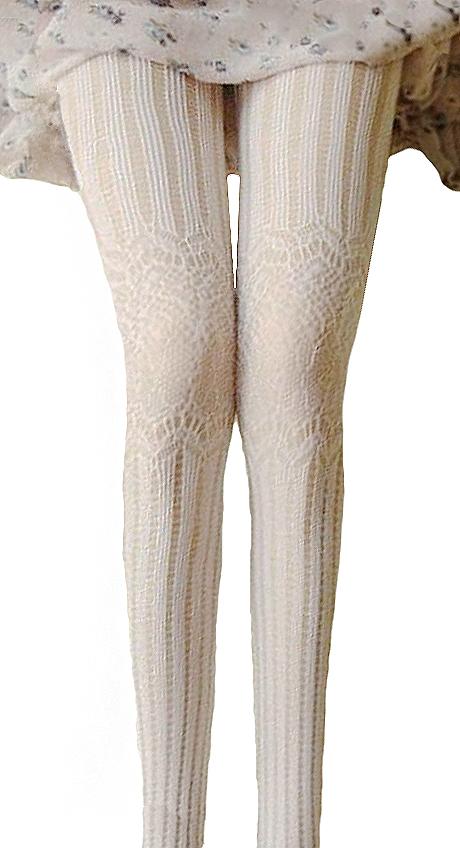 factory outlet classic shoes affordable price Collant blanc avec maille effet résille et broderie en laine, casual lolita  mariage Référence : ACCCHA357