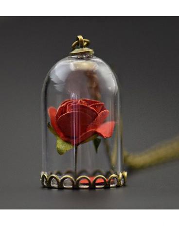 collier rose rouge sous cloche avec petit miroir couleur bronze japan attitude accpen608. Black Bedroom Furniture Sets. Home Design Ideas