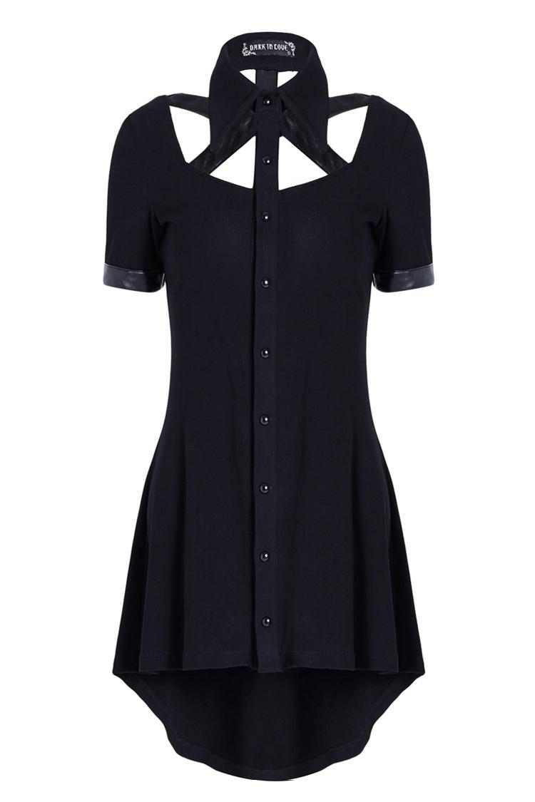 df6f4bcdc9755 Robe noire effet chemise avec col et sangles effet cuir, gothique nugoth  witchy