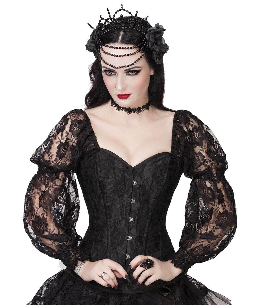 Corset top à motif fleuri black avec longues manches en dentelle blacke, élégant
