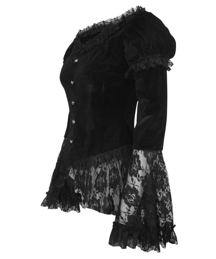 haut top en velours et dentelle noir avec manches longues vas e gothique victorien japan. Black Bedroom Furniture Sets. Home Design Ideas