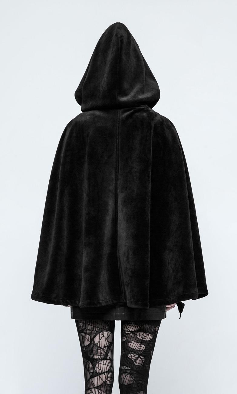 nouveau design beau look réflexions sur Veste cape noir avec capuche arrondie, imitation fourrure, witchy Référence  : PUNKR0332