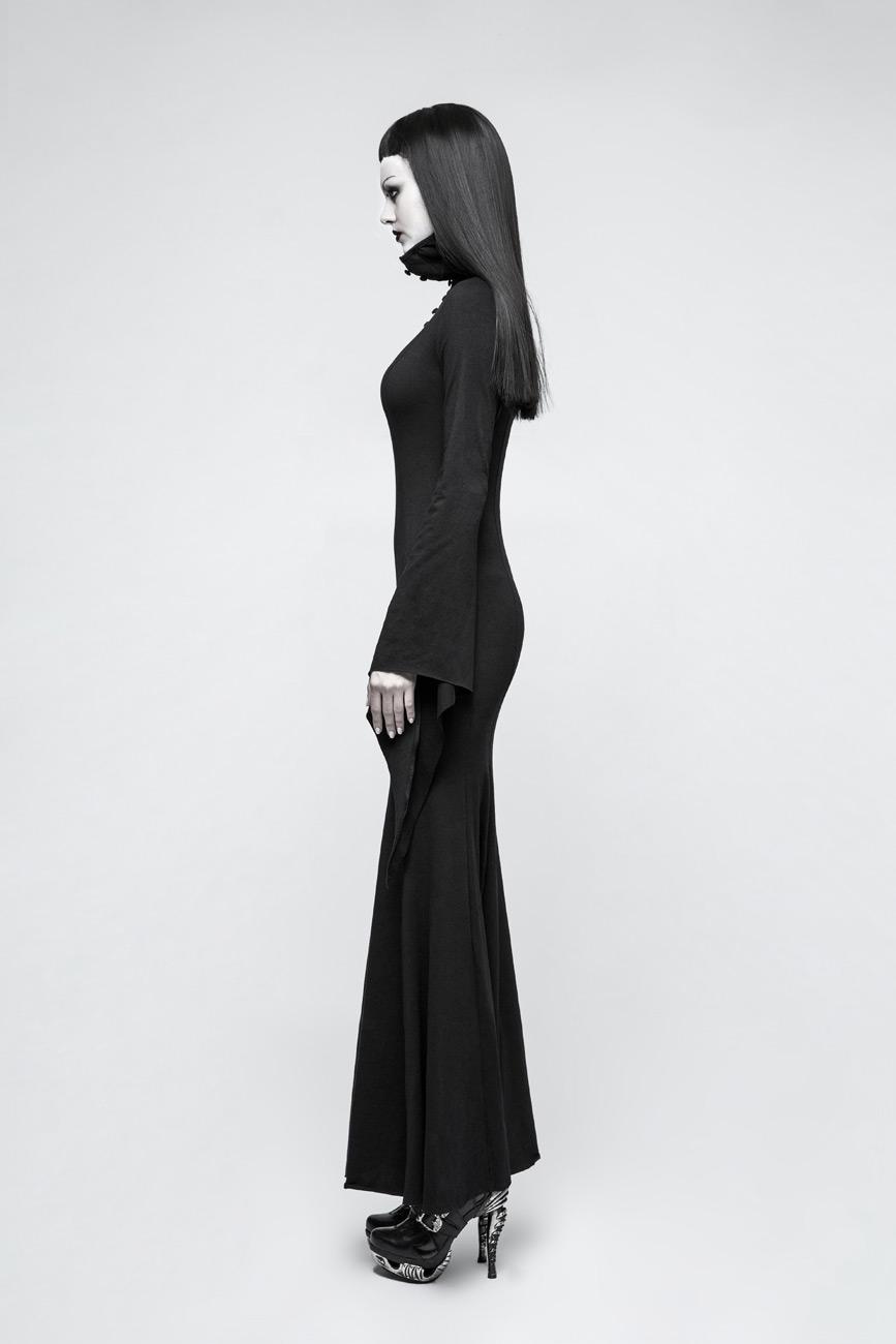 3c9082adcba4a Longue robe noire avec boutons, longues manches évasées et col haut ...