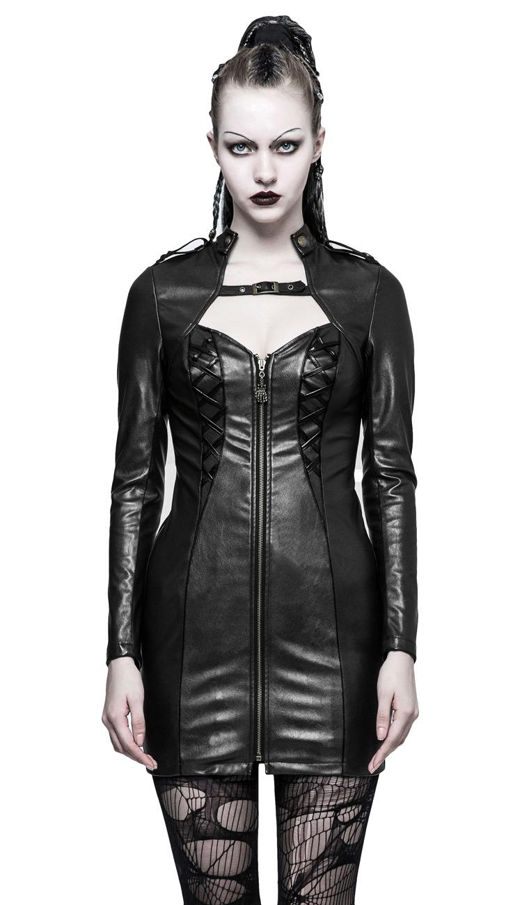 1c57420c7c474 Robe courte imitation cuir avec longues manches effet boléro, ferme ...