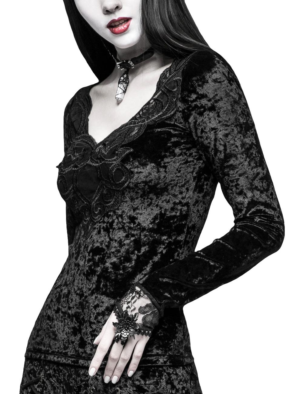09582b7713387 Top femme longues en velours noir avec longues femme manches mitaines,  broderie e Punk Rave 80ce67