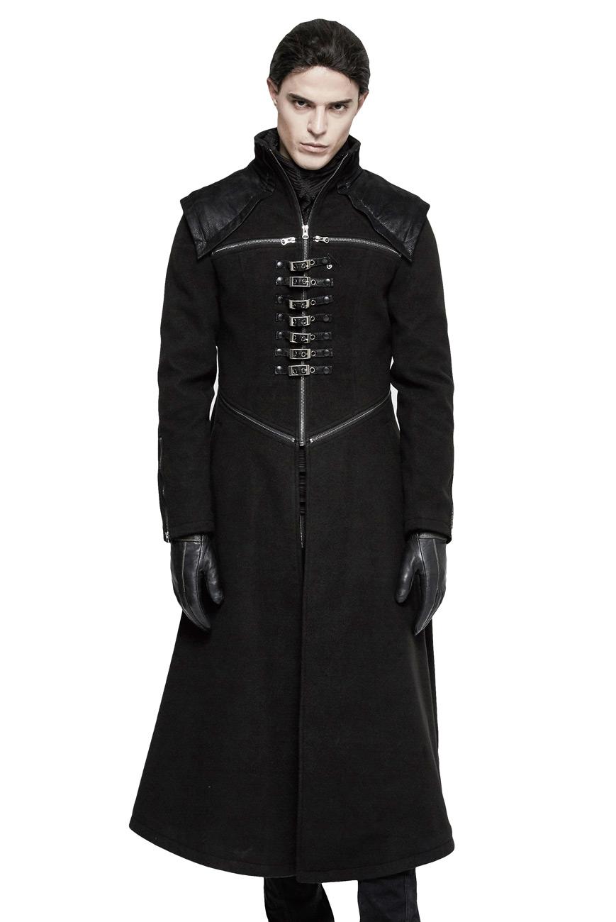 veste longue noire homme avec fermetures clair et sangles gothique visual kei punk rave. Black Bedroom Furniture Sets. Home Design Ideas