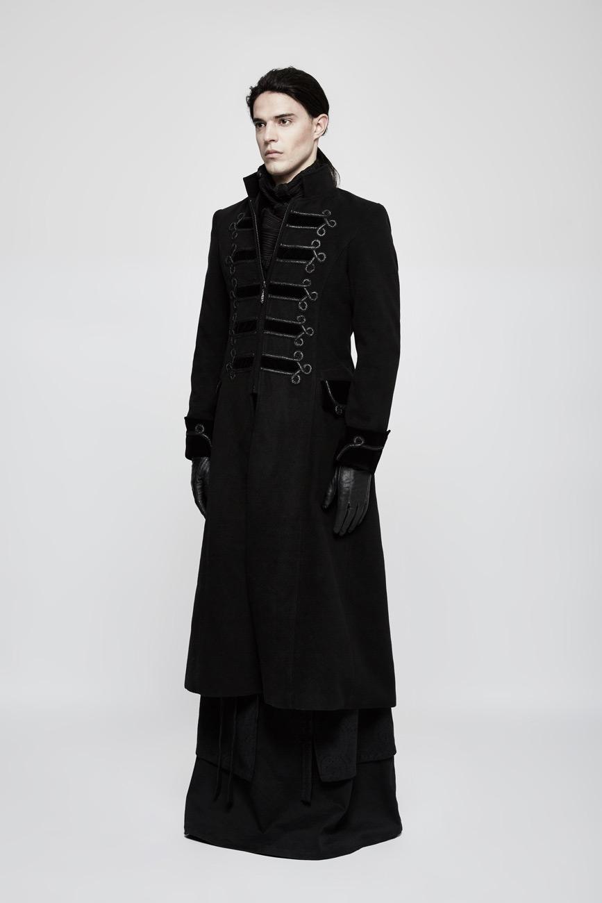 veste manteau homme long noir avec broderie gothique l gant punk rave japan attitude. Black Bedroom Furniture Sets. Home Design Ideas